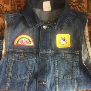 H&M Denim Vest (S) Patches and Painted